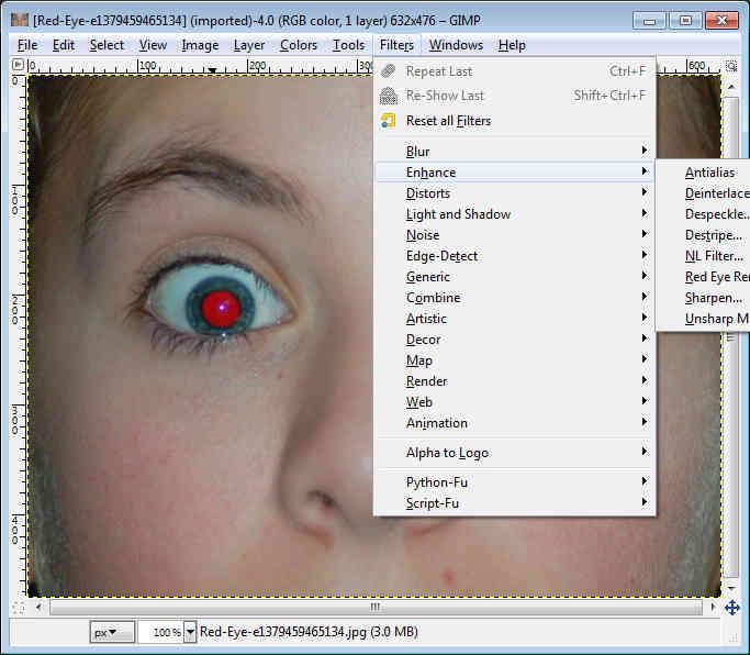 gimp beginner red eye removal