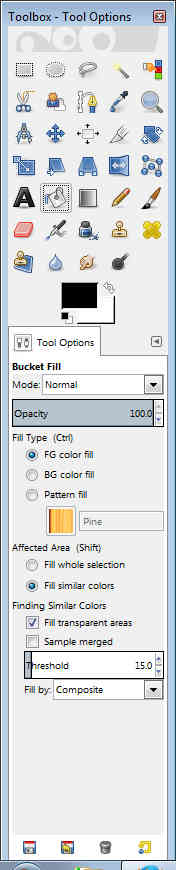 GIMP - Toolbox tool options bucket fill