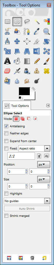 GIMP - Toolbox Tool Options Ellipse