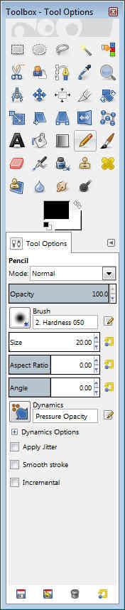 Gimp - Toolbox Tool Options Pencil
