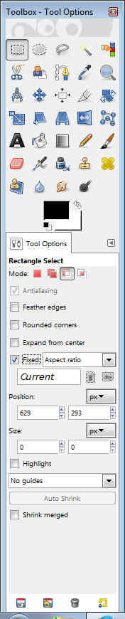GIMP - Toolbox tool options square