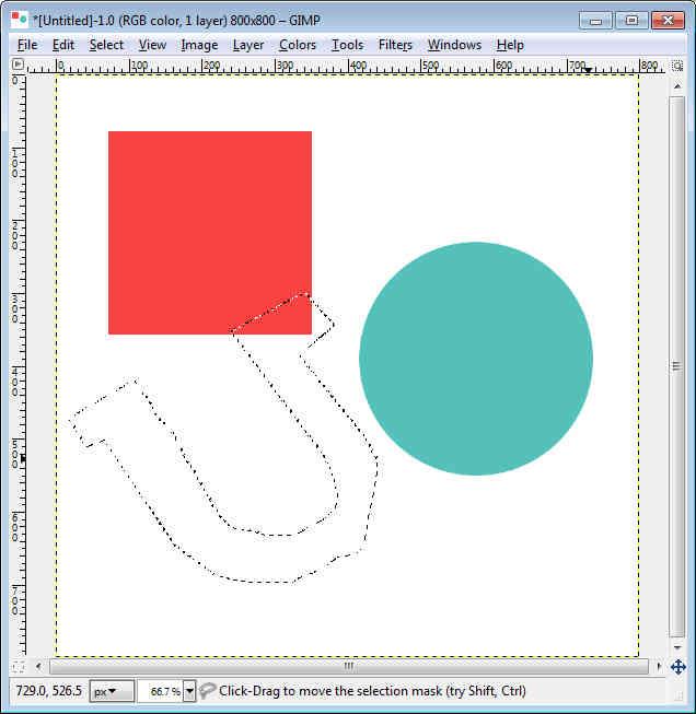 GIMP - Workspace draw free form, Complex Shape