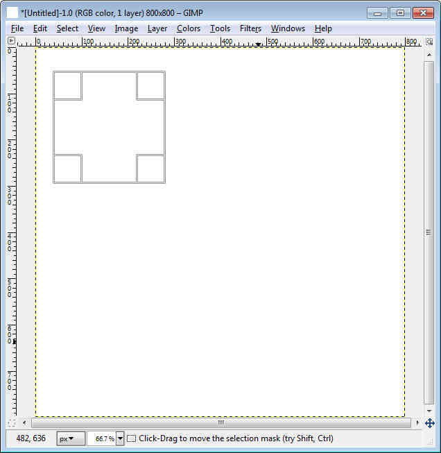 GIMP - Workspace draw square
