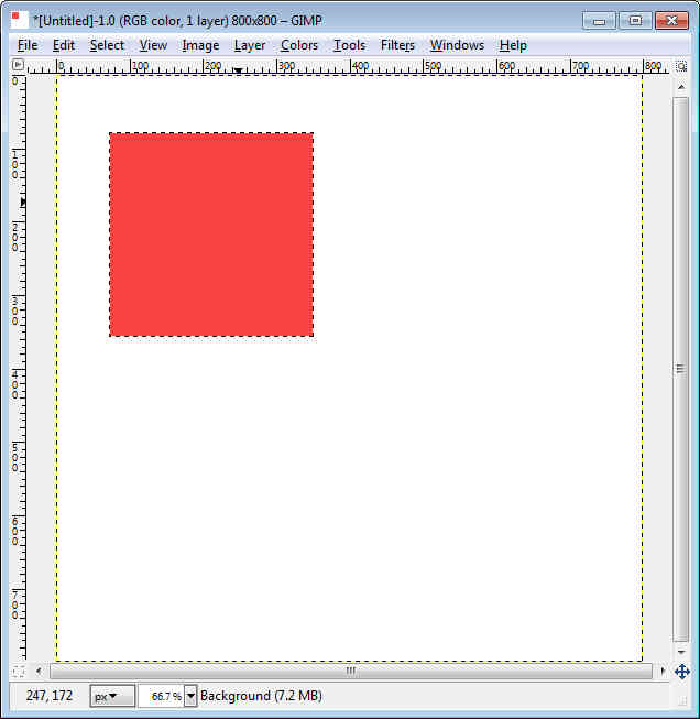 GIMP - Workspace draw square and fill