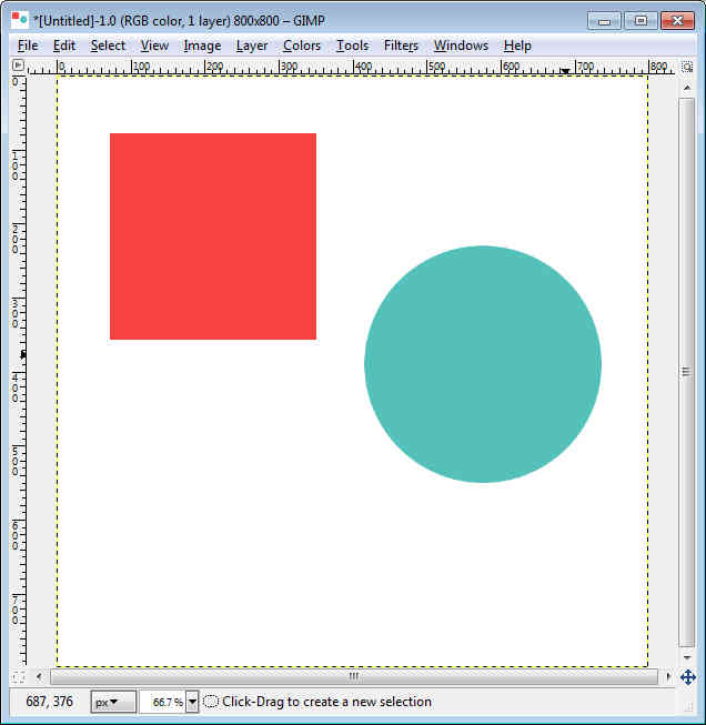 Gimp - Workspace fill circle and square.