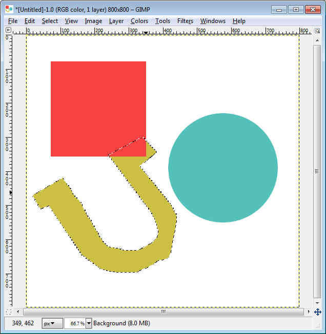 GIMP - Workspace fill circle, square and free form